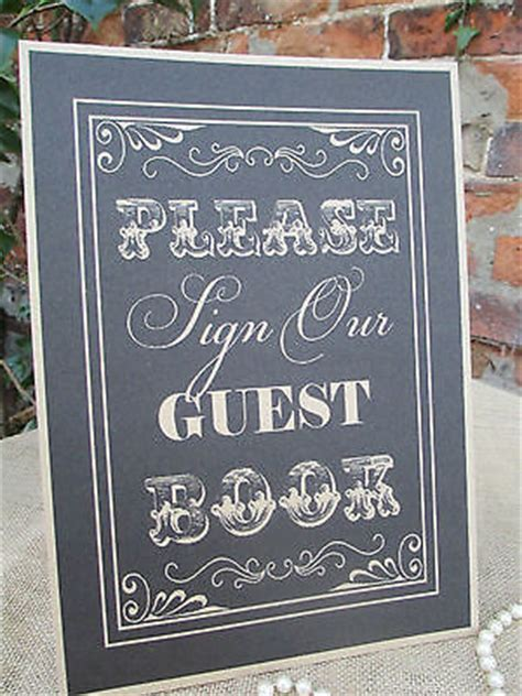 Wish Tree Guest Book Sign A4 Size Poster Shabby Chic