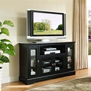 black tv stands walker edison wood highboy style 55 inch tv cabinet black