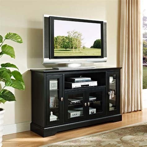 walker edison wood highboy style 55 inch tv cabinet black