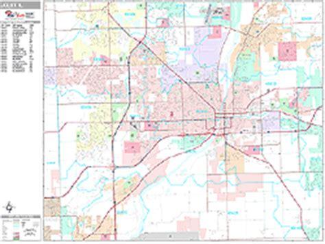 zip code map joliet il joliet illinois zip code wall map premium style by