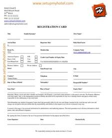 hotel registration form template hotel guest registration card sle accomodation reg
