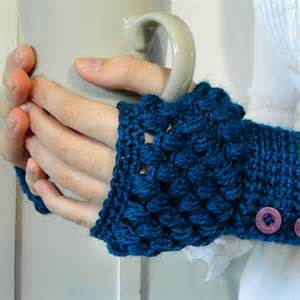 stylish blue fingerless crochet mittens trendy mods com