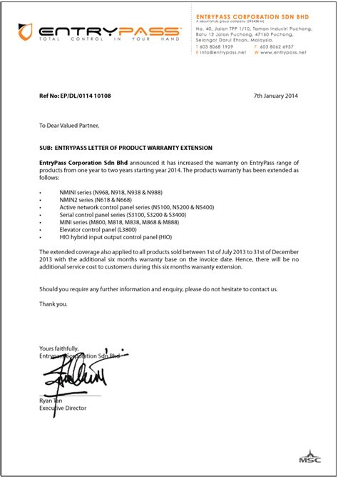 Aia Guarantee Letter Malaysia Letter Of Warranty Free Printable Documents