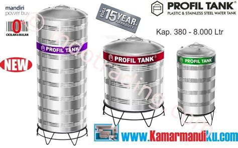 Tangki Air Stainless Profil Tank Ps 6000 Kaki Toren Tandon jual tangki air stainless steel ps 2000 kap 2000liter merk profil harga murah jakarta oleh