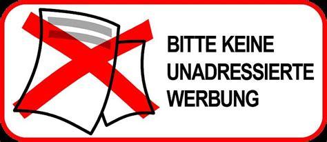 Aufkleber Keine Unadressierte Werbung by Aufkleber Bitte Keine Werbung F 252 R Hausbrieffach