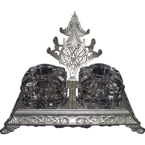nickel plated desk l mint quot nickel plated ink stand quot desk set circa 1895