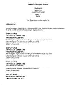 Chronological Resume Template Word Chronological Resume Template 8 Free Word Pdf