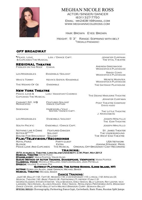 dancer resume exles resumes template resume builder