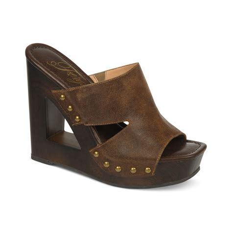 wedge slide sandals fergie panama slide platform wedge sandals in brown