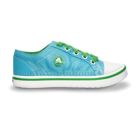 crocs hover sneak metallic aqua lime retro styled classic sneaker with a metallic shimmer