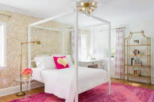Ballard Designs Headboards pink and gold teenage girls bedroom with white canopy bed