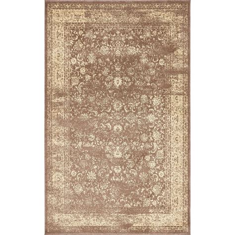 Brown And Beige Area Rug Unique Loom Brown And Beige 5 Ft X 8 Ft Area Rug 3136366 The Home Depot