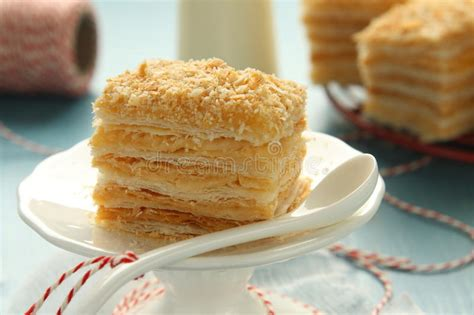Layer Puff layer cake from puff pastry with custard stock image