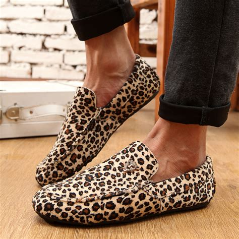 cheetah print mens loafers new 2014 loafers genuine leather leopard print mens