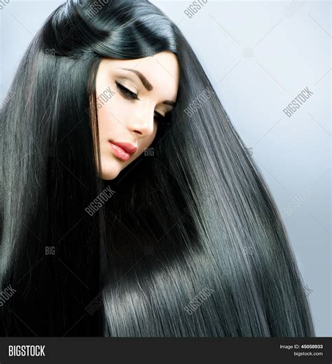 hair straightening for big long straight hair beautiful brunette girl healthy black