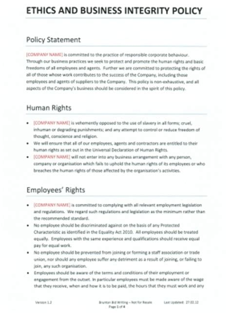corporate social responsibility policy template ethics policy business integrity policy template