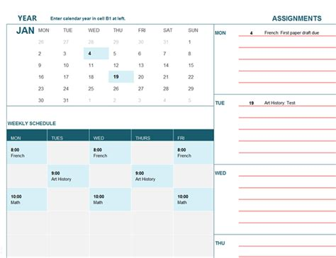 office templates calendar student calendar mon office templates