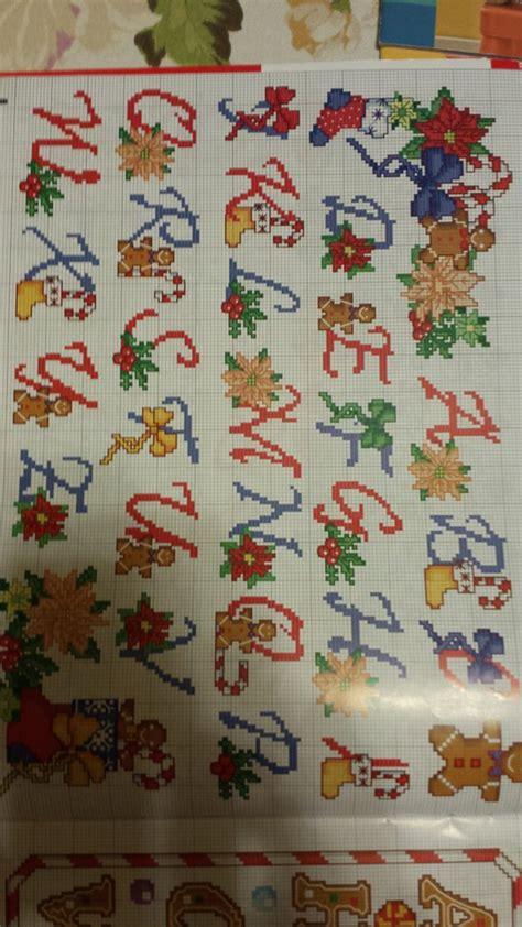 ricamo lettere punto croce schema alfabeto natalizio ricamo punto croce libri