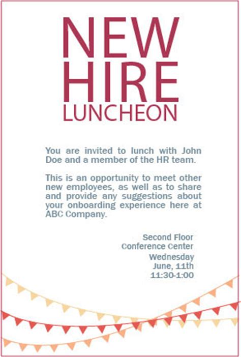 wording for employee holiday luncheon new hire luncheon invitation on behance