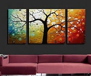 3 canvas colorful tree large