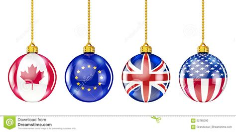 international christmas ornaments stock illustration