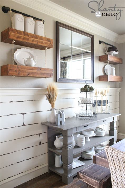 rope  pipe floating shelves shanty  chic
