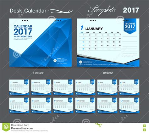 set blue desk calendar 2017 template design cover desk