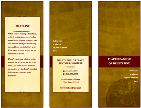 Traditional Tri Fold Brochure Template For Pages   Free