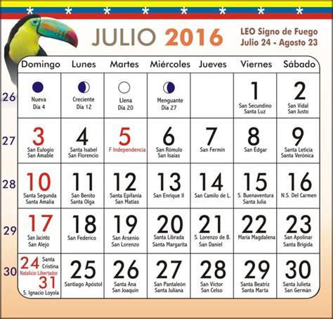 Calendario 2016 Para Imprimir Feriados Calendario Julio 2016 Im 225 Genes Para Descargar E Imprimir