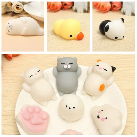 6pcs mochi duck seal cloud cat claw squishy squeeze cute