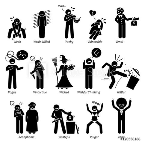 negative personalities character traits stick figures
