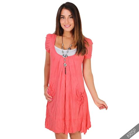 damen 3in1 set tunika kleid mit top und halskette mini