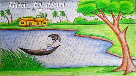 draw  scenery  rainy season step  step