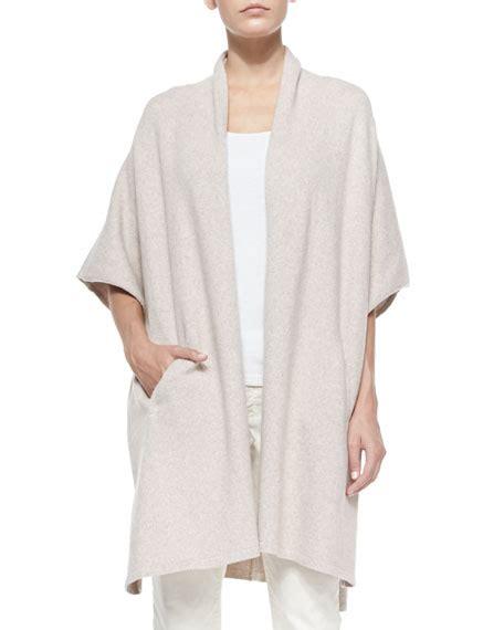comfort cape eileen fisher comfort cotton blend kimono cape maple oat