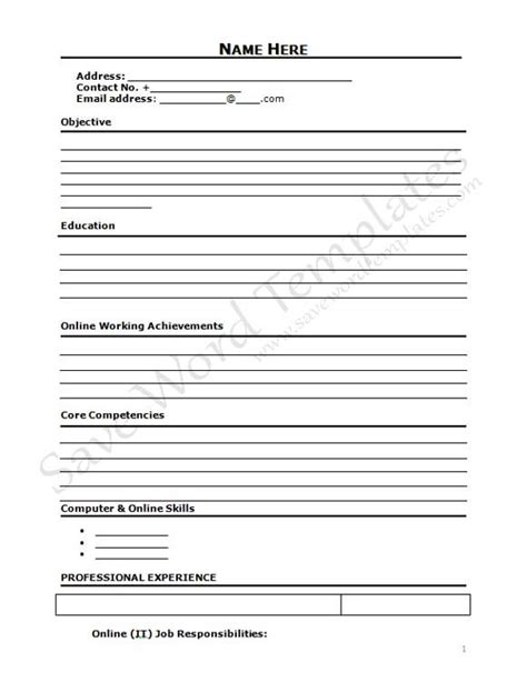 Blank Resume Form by Curriculum Vitae Blank Form Http Www Resumecareer Info
