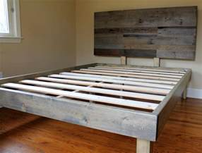 Grey Stained Wood Bed Frame Reclaimed Wood Bed Weathered Grey Minimalist Bed Frame With