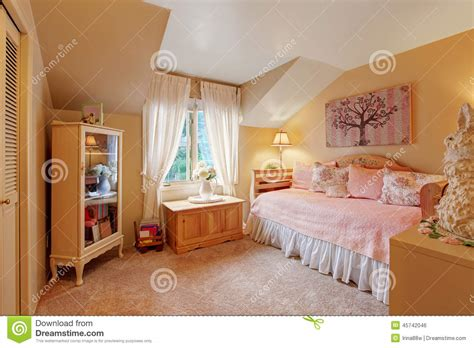 romantic bedroom interior romantic girls bedroom interior in soft tones stock photo