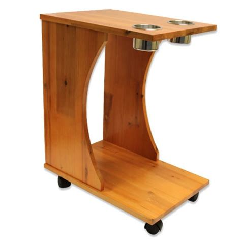 Cup Holder Table by Caddy Wood Rolling Drink Holder Table