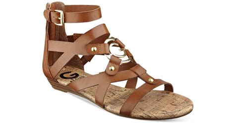 cognac gladiator sandals g by guess jackman gladiator sandals in brown cognac lyst