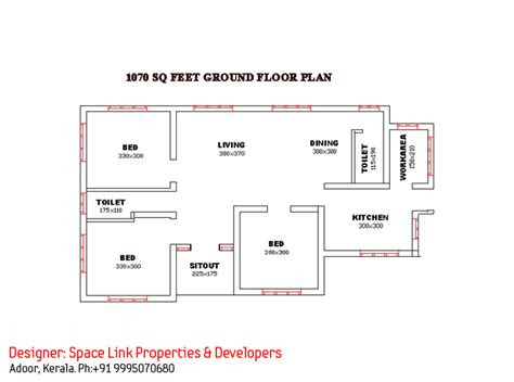 single house floor plan superb single floor design kerala house at 1070 sq ft
