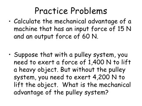 Calculating Mechanical Advantage Worksheet With Answers by Mechanical Advantage And Efficiency