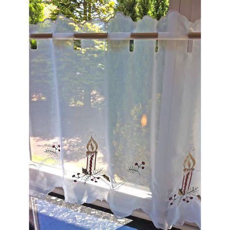 christmas net curtains christmas voile cafe net curtain panel for kitchen