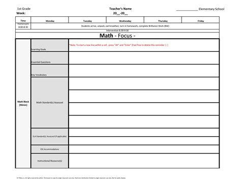 florida lesson plan template 1st grade weekly lesson plan template w florida