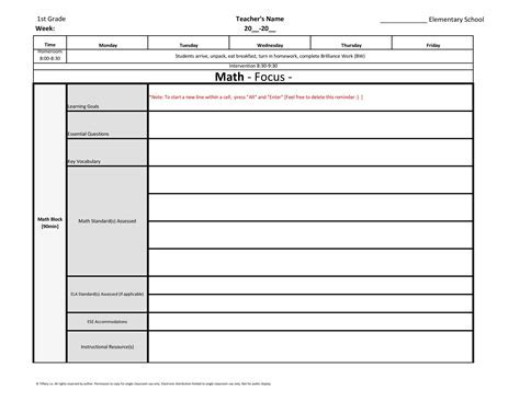 Weekly Lesson Plan Template Common Core Un Mission Resume And