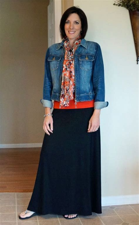 How To Wear A Maxi Skirt Over 50 | women over 50 wear denim jacket google search black