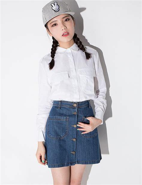 Kaos Line Koreanstyle New Update skirt a line skirt denim skirt button skirt denim button skirt mini skirt korean