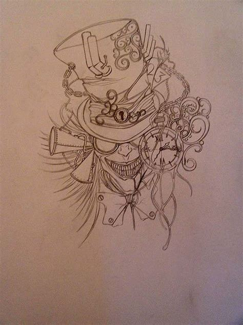 mad tattoos designs design mad hatter sketch steunk design