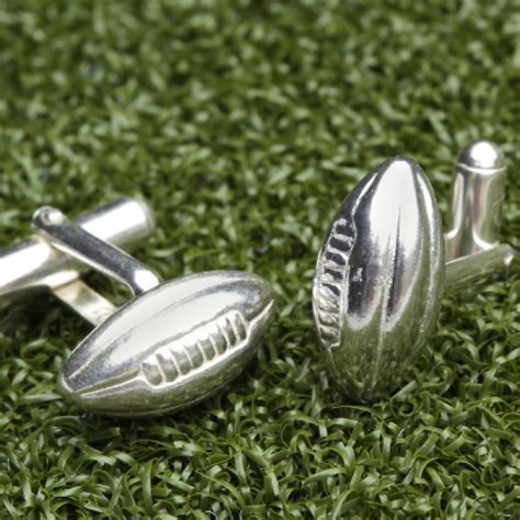 solid silver solid silver rugby cufflinks