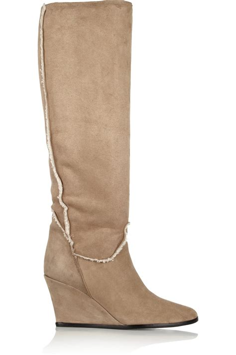 lanvin shearling wedge boots in lyst