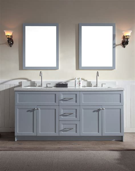 double sink bathroom vanity countertops ariel hamlet 73 quot double sink vanity set with white quartz